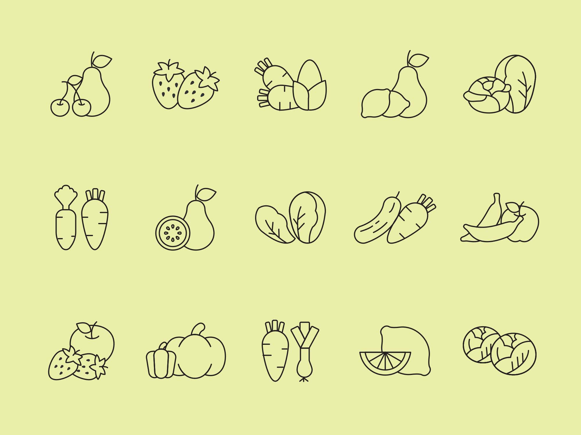 Fruit and Vegetables Vector Icons 2