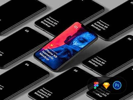 Isometric iPhone XR Mockup