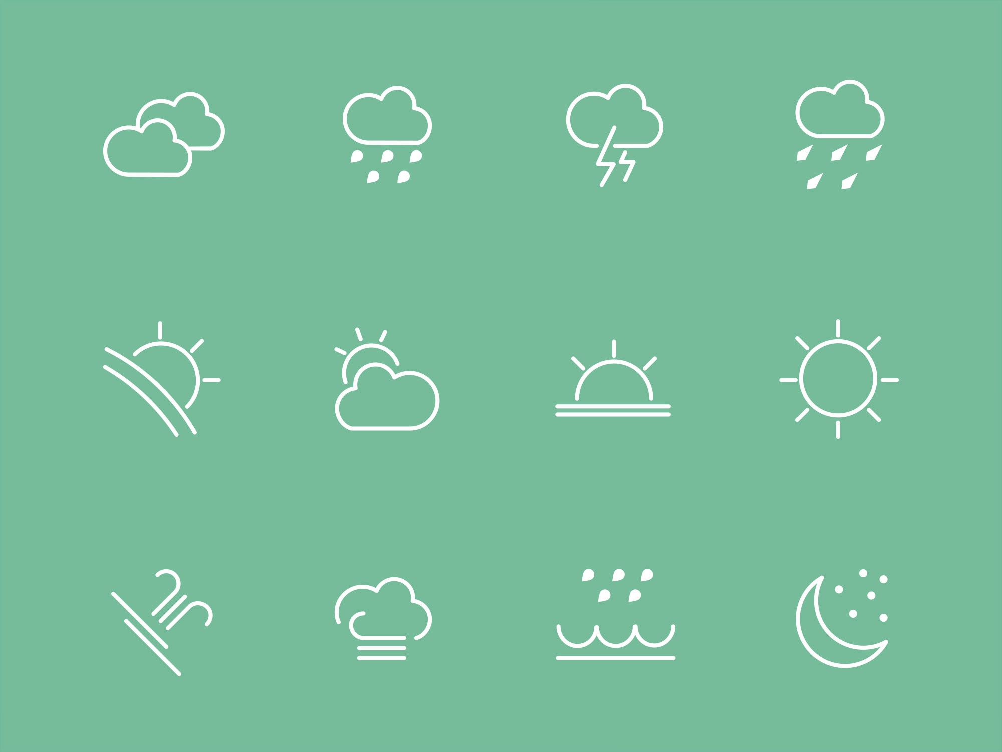 Flat Line Weather UI Icons