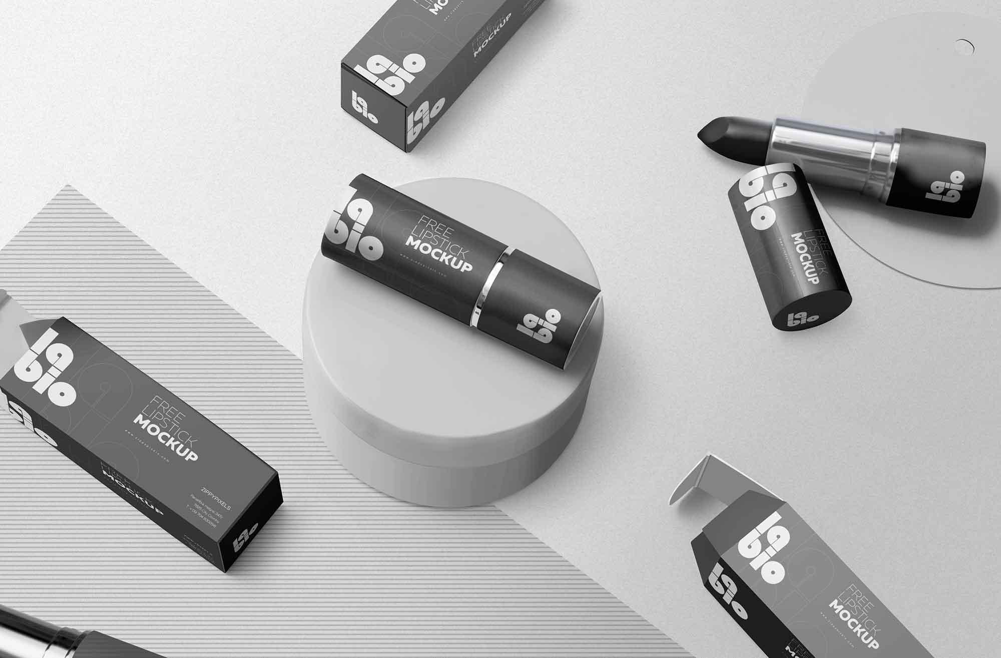 Matte Lipstick Packaging Mockup