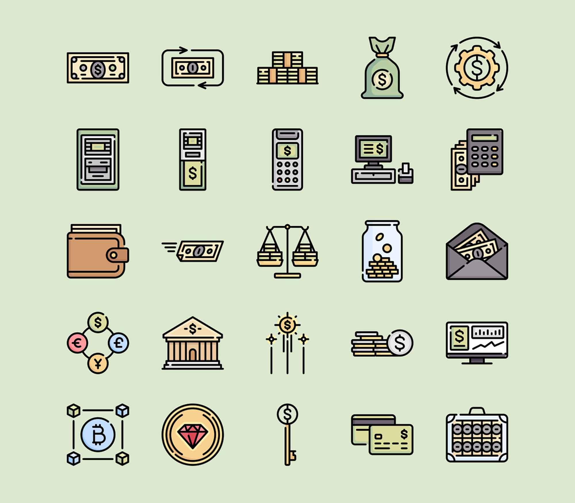 Money Vector Icons 1