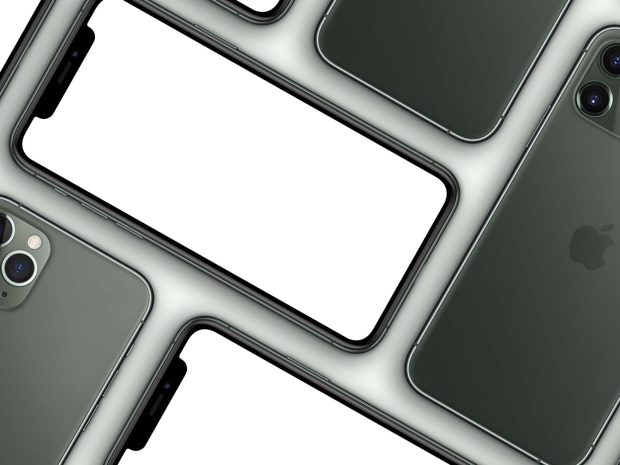 Multiple iPhone 11 Pro Max Mockup 2