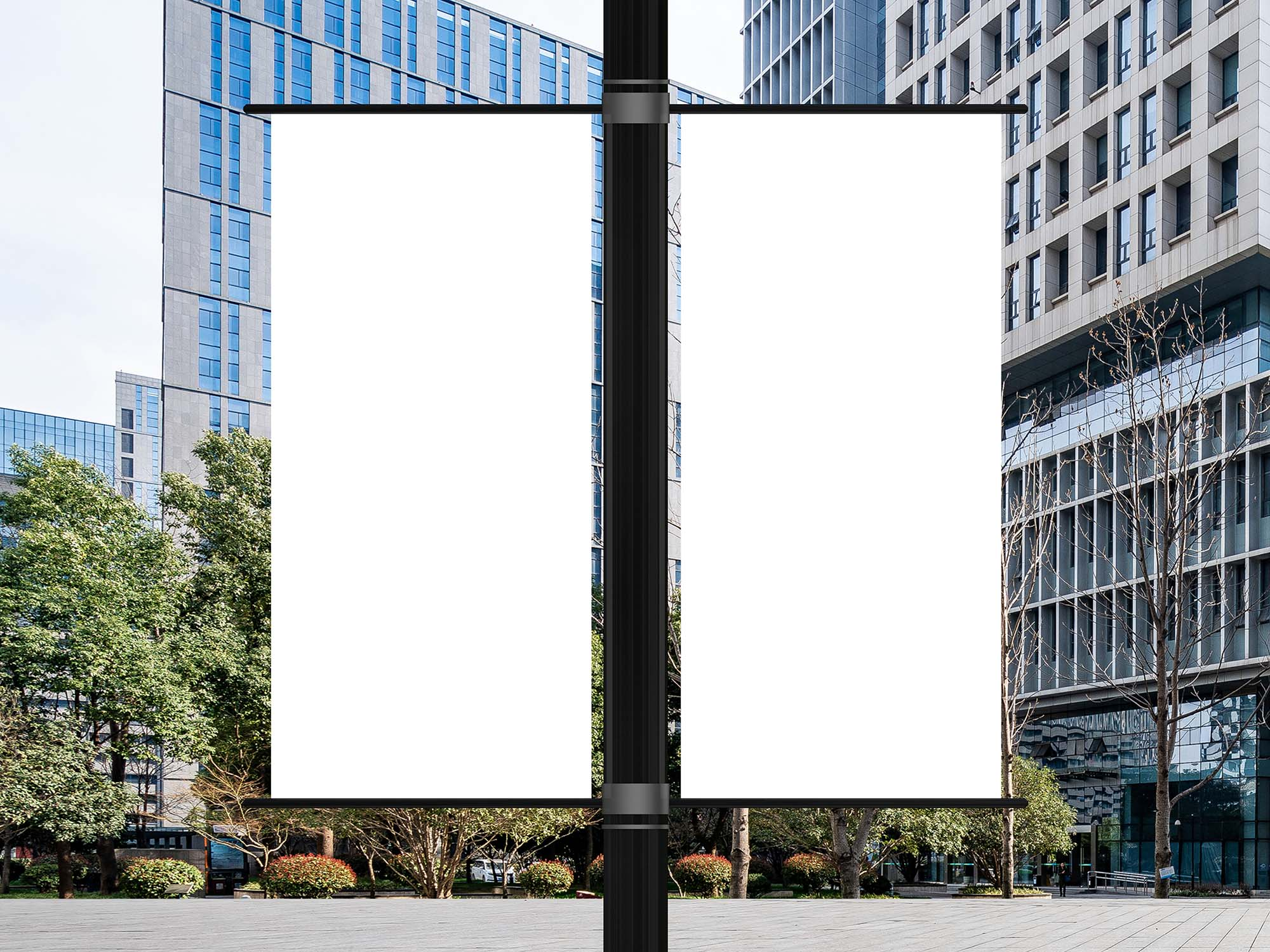 Outdoor Lamp Post Banners Mockup 2