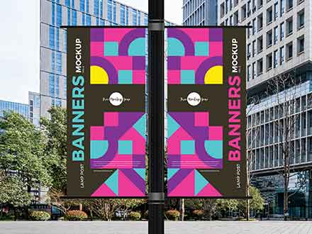 Outdoor Lamp Post Banners Mockup