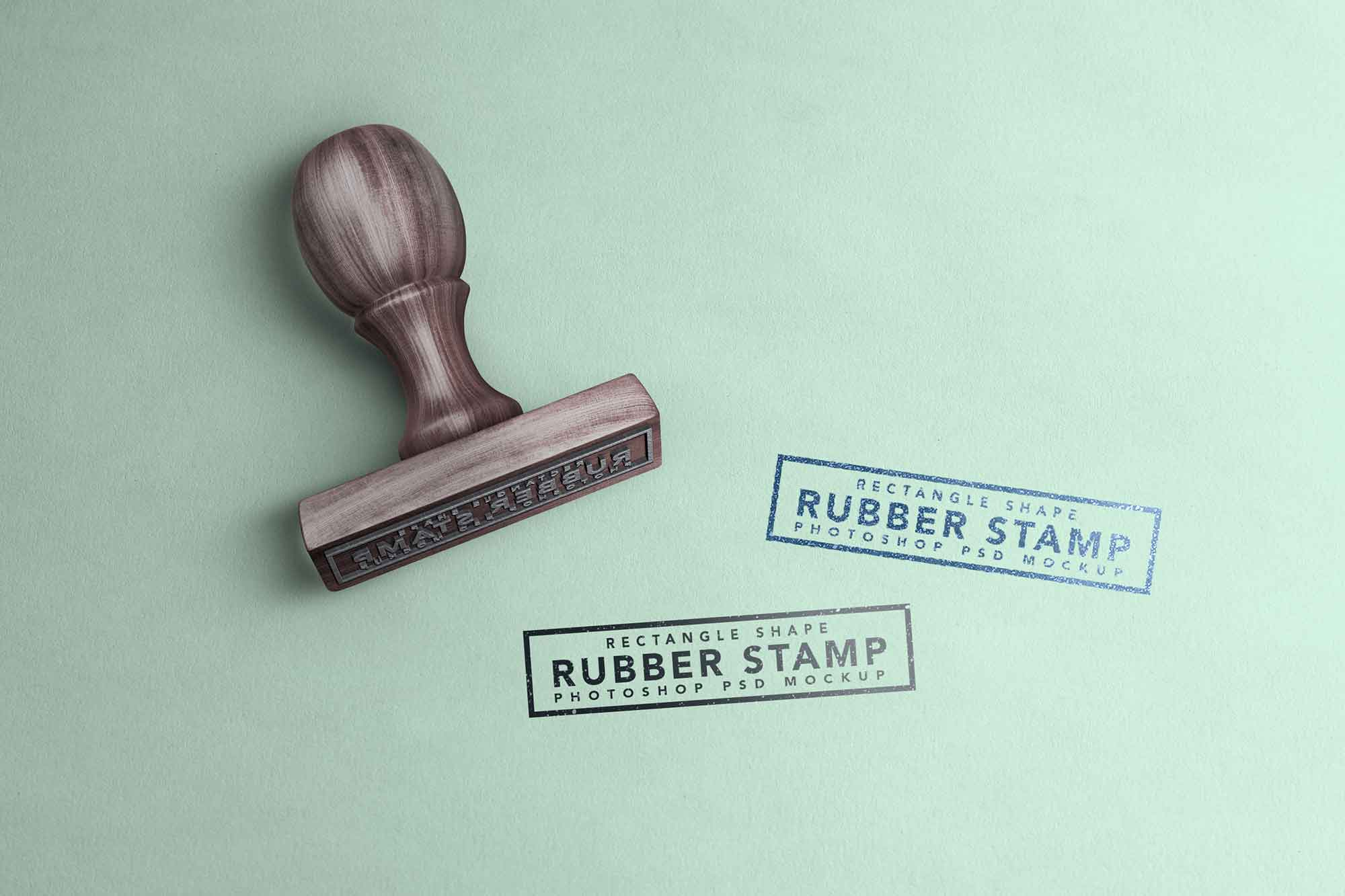 Free Rectangle Rubber Stamp Mockup (PSD)