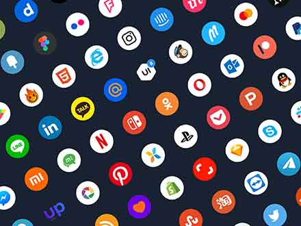 Rounded Colored Social Media Icons