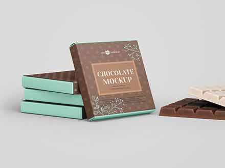 Square Chocolate Bar Mockup