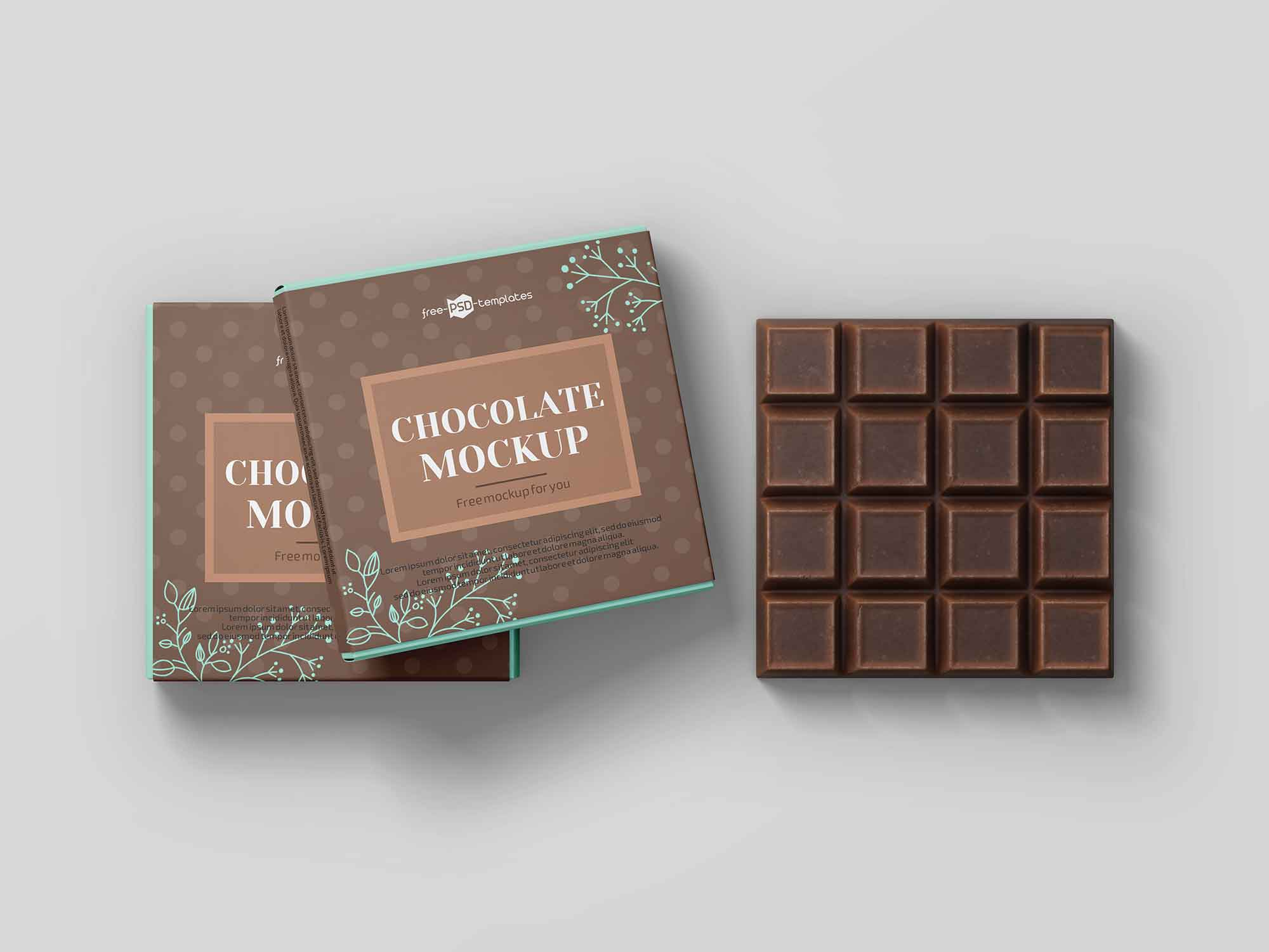 Square Chocolate Bar Mockup 2