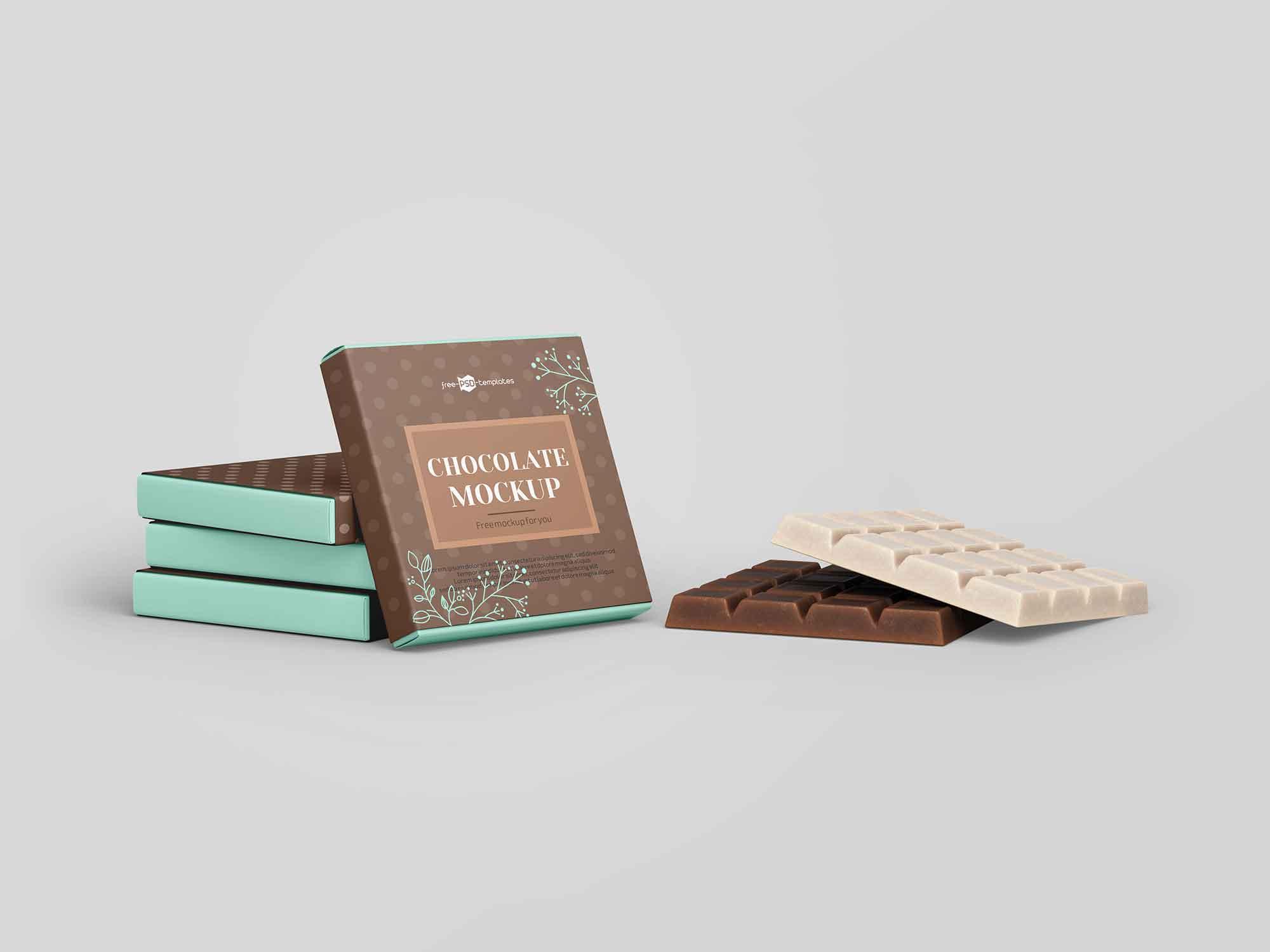 Free Square Bar Of Chocolate Mockup Psd
