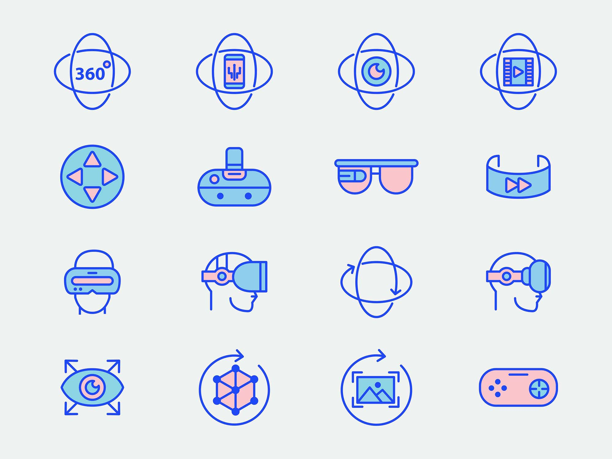 Virtual Reality Vector Icons