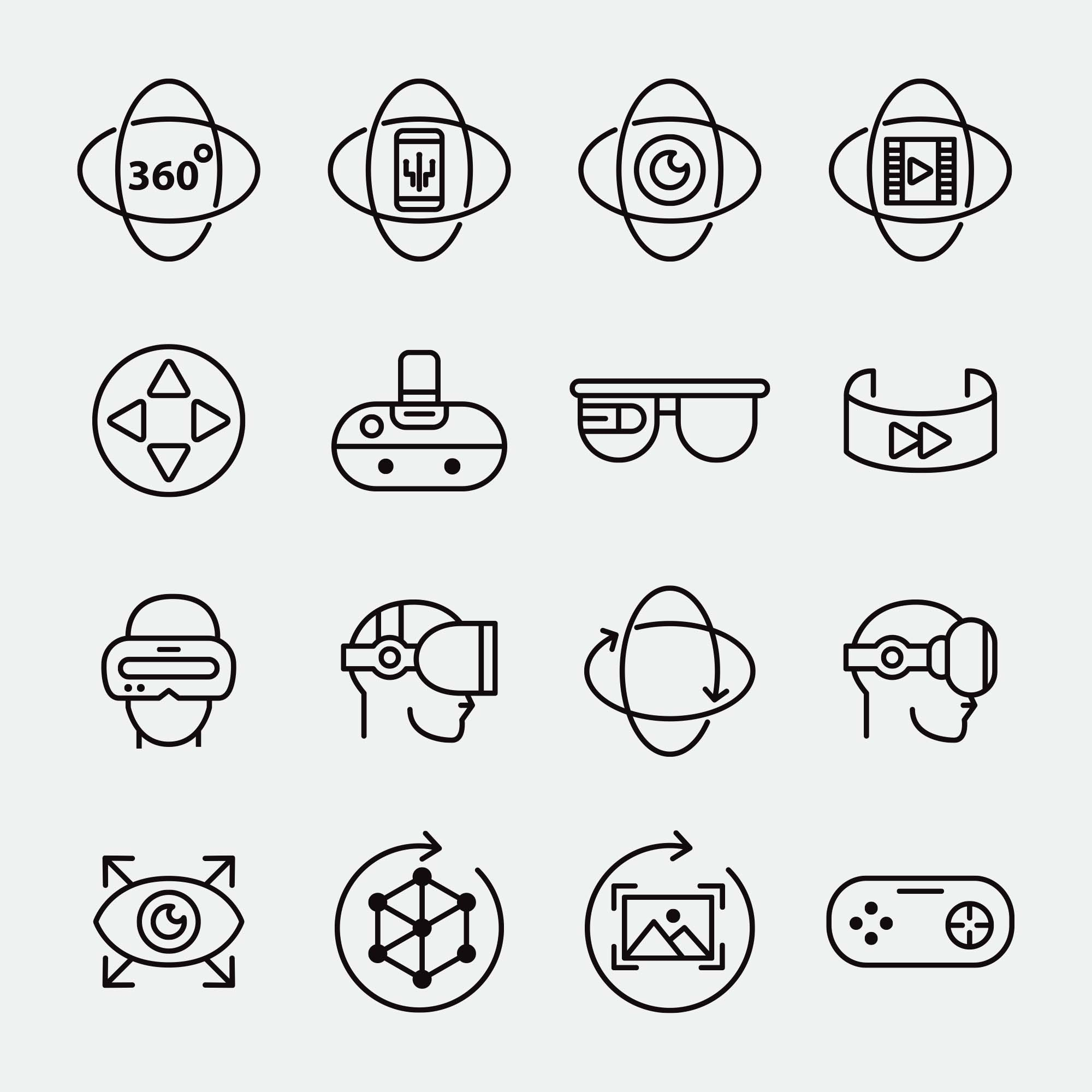 Virtual Reality Vector Icons 2