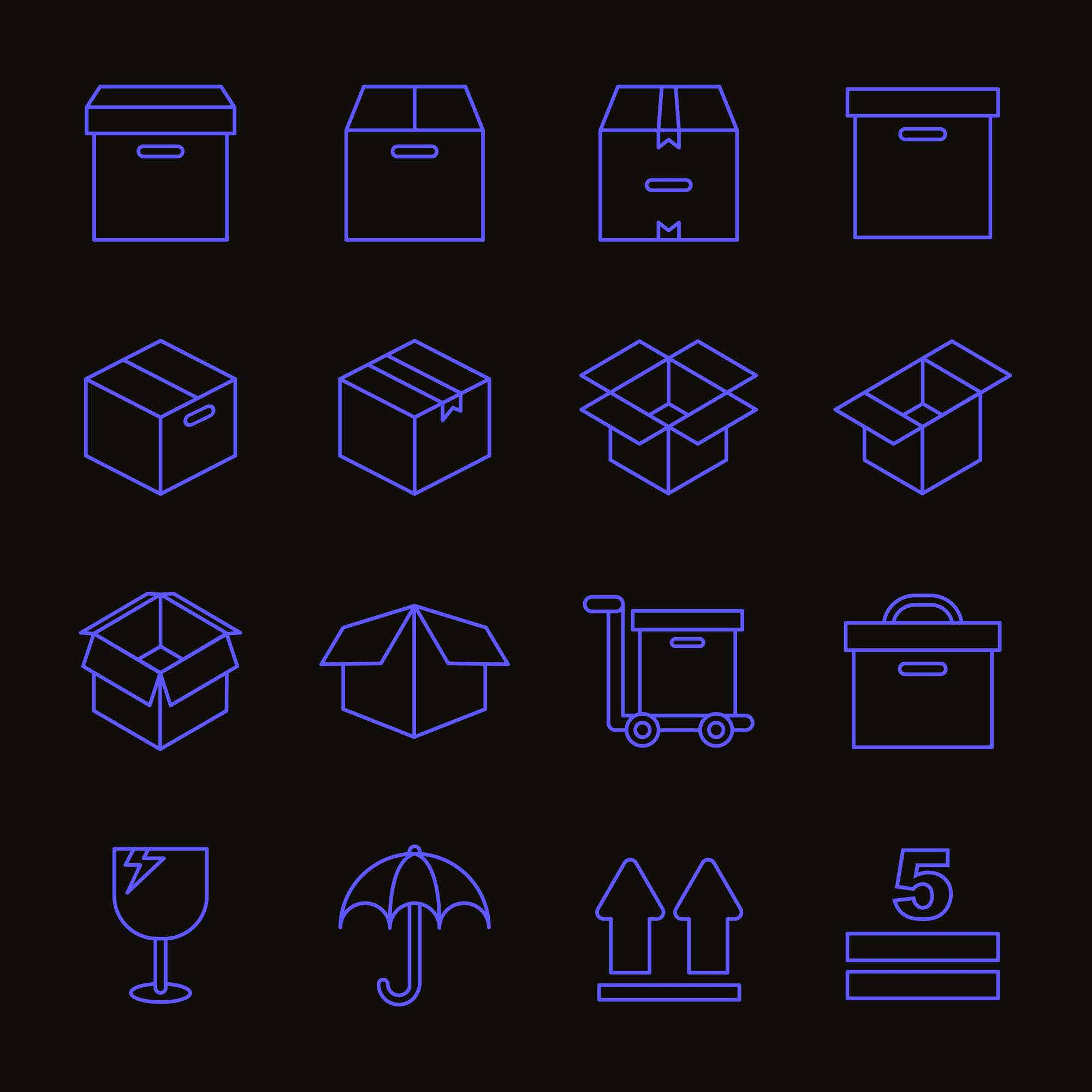 Box Packaging Icons 2