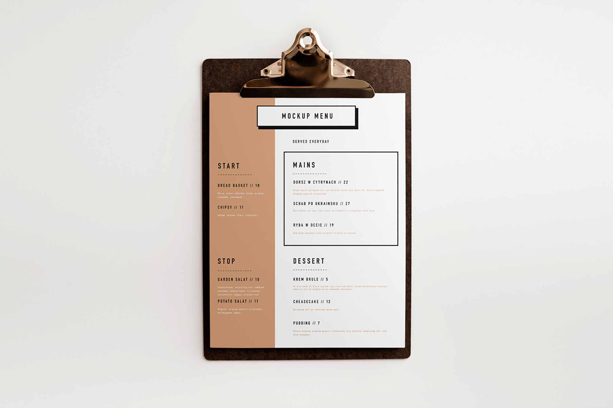Clipboard Menu Mockup