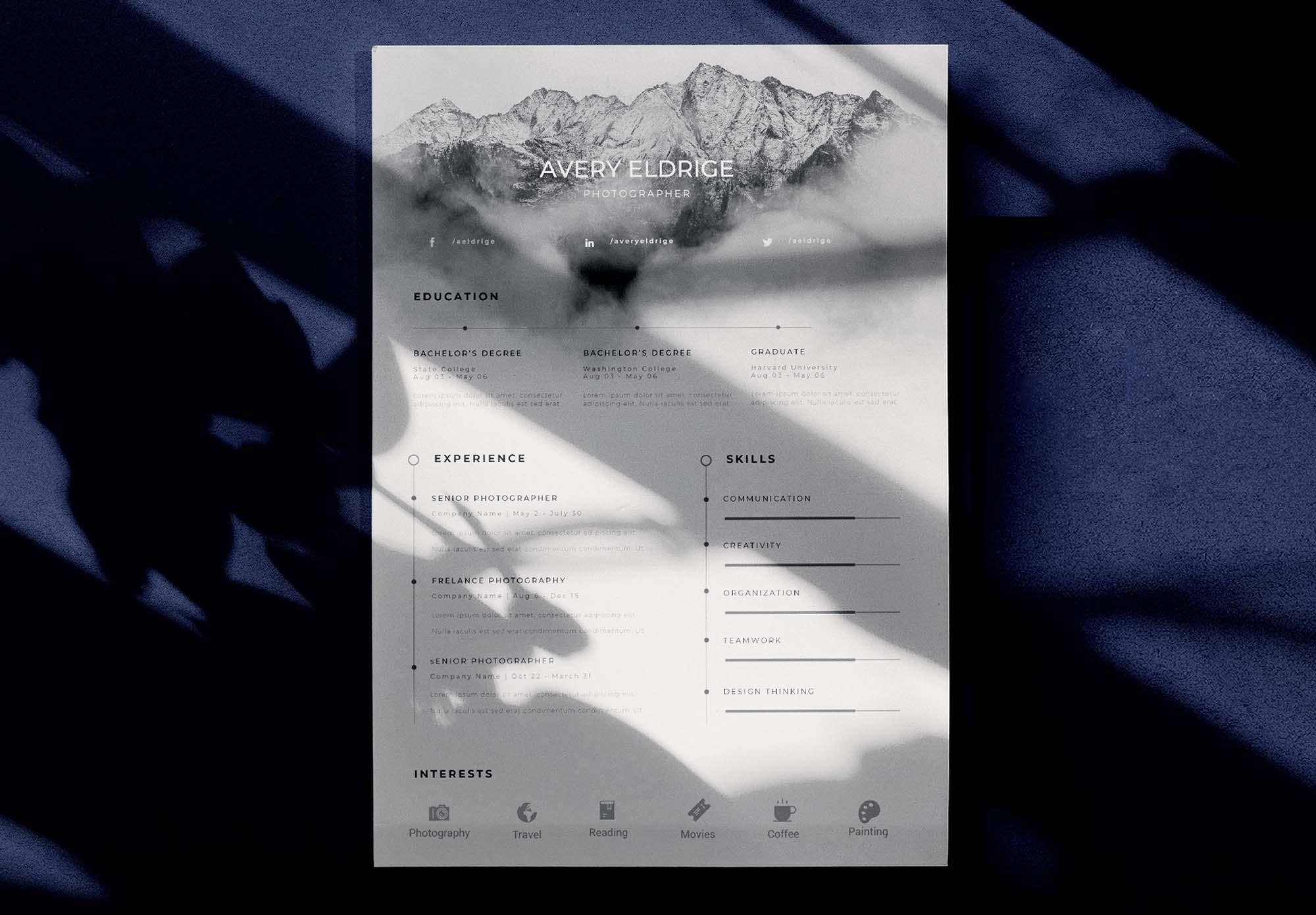 Free Creative Resume Template (Ai,PSD)