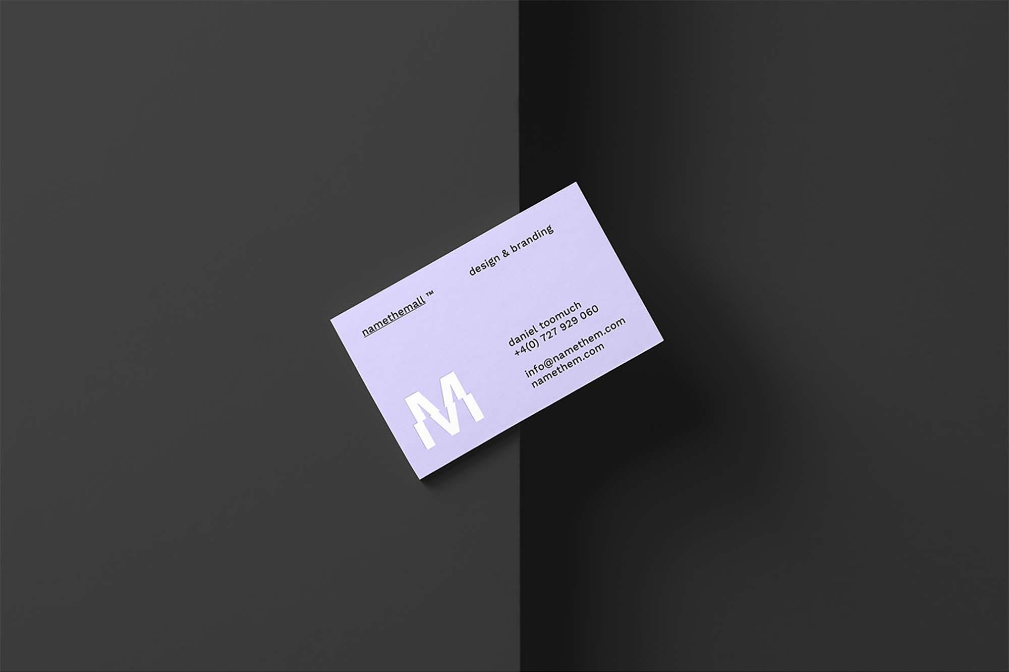 Diagonal Business Card Mockup