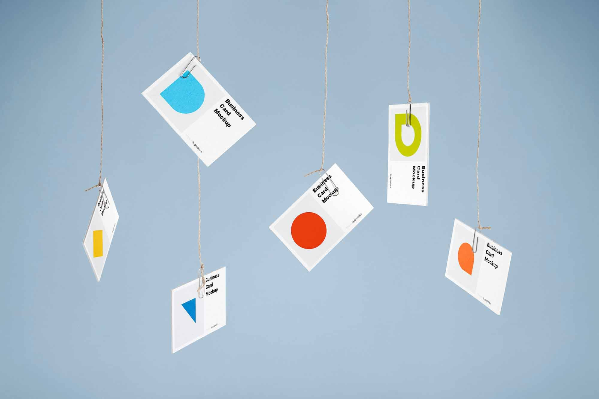 Hanging Business Cards Mockup