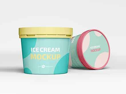 Ice Cream Plastic Jar Mockup