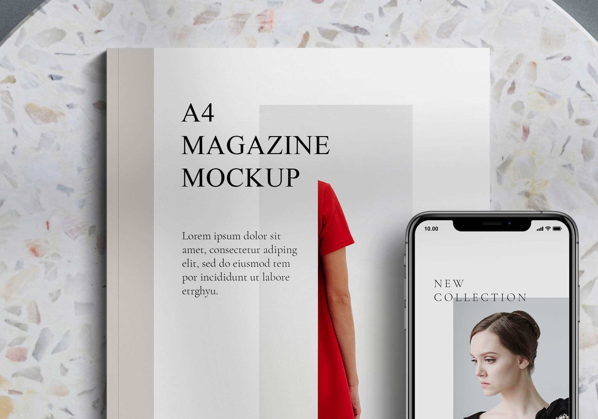 Magazine and Phone Mockup