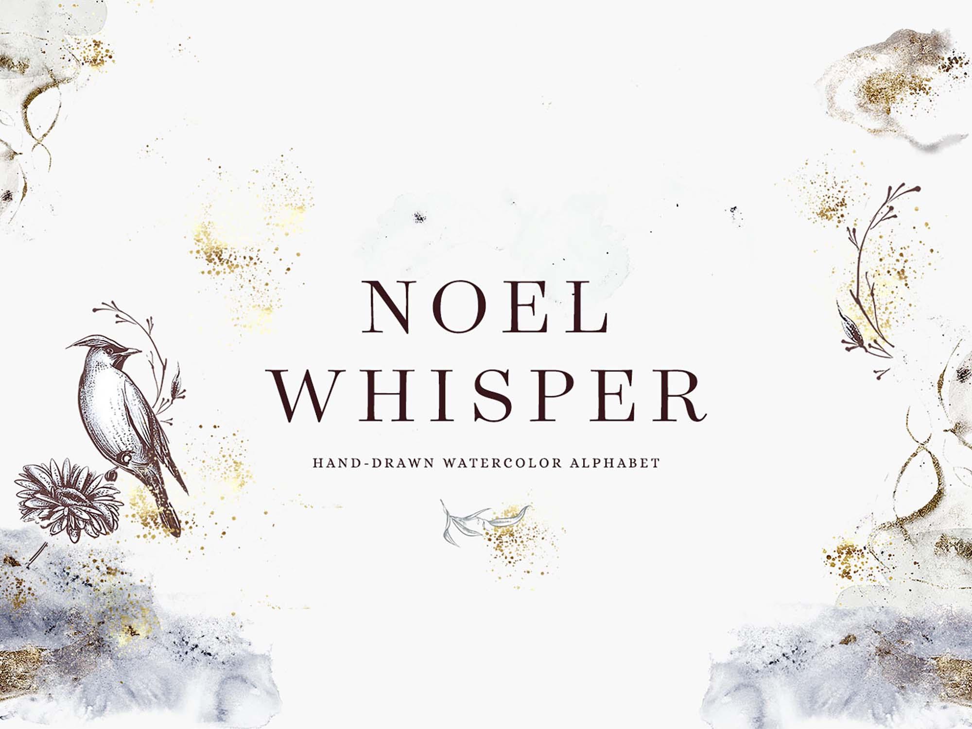 Noel Whisper Watercolor Alphabets