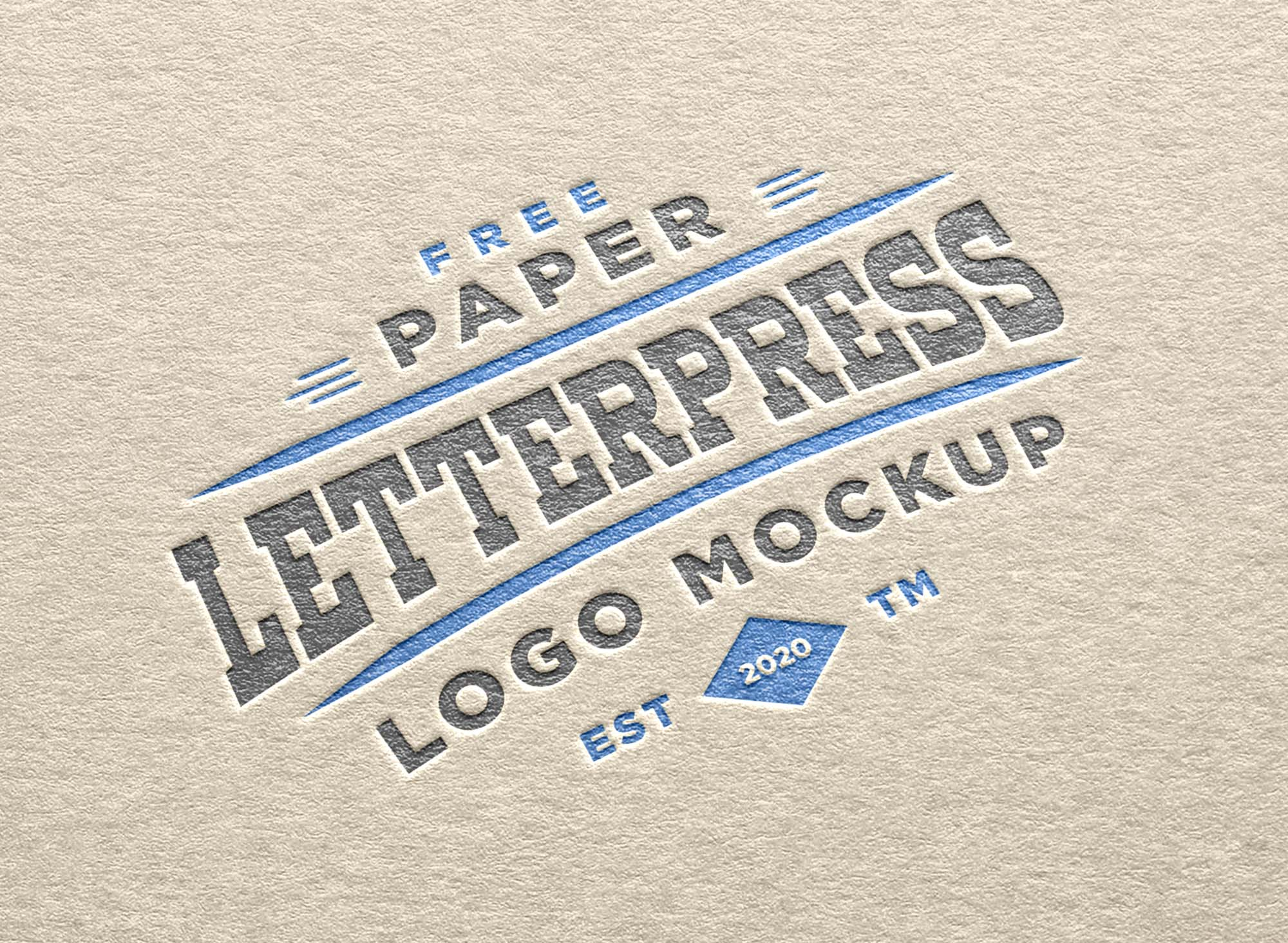 Paper Letterpress Logo Mockup 2