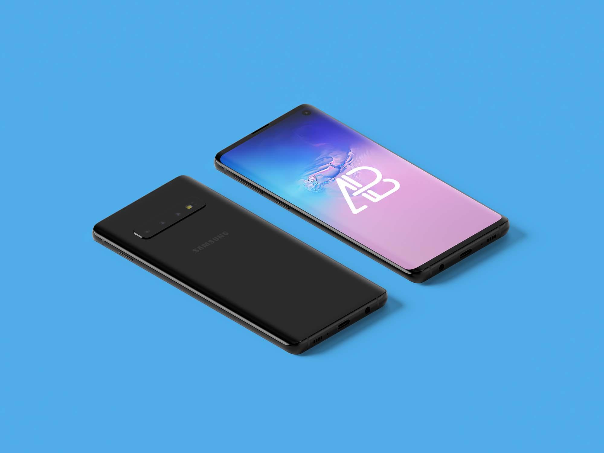 Samsung Galaxy S10 Isometric Mockup 2