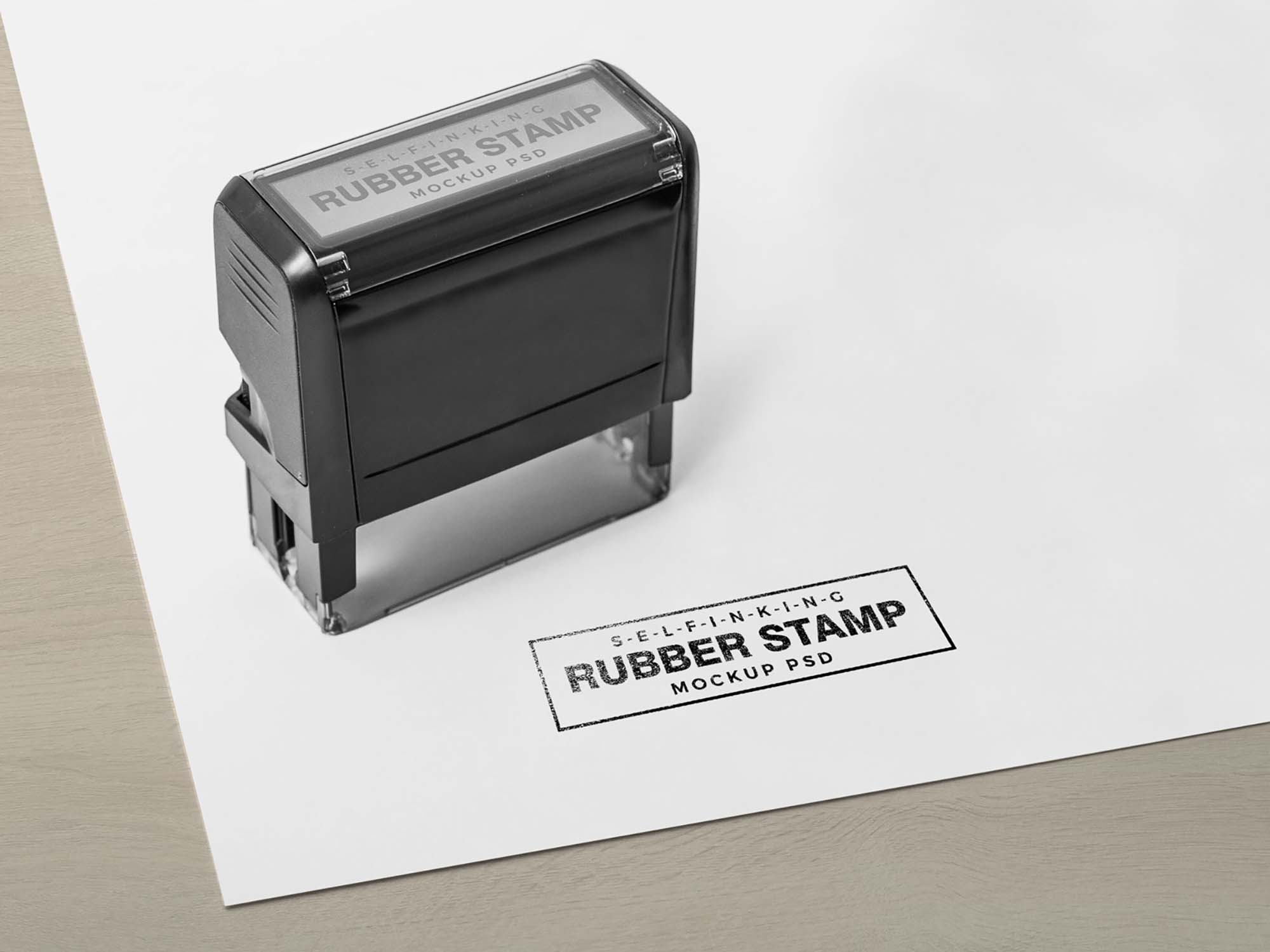 Self Inking Rubber Stamp Mockup