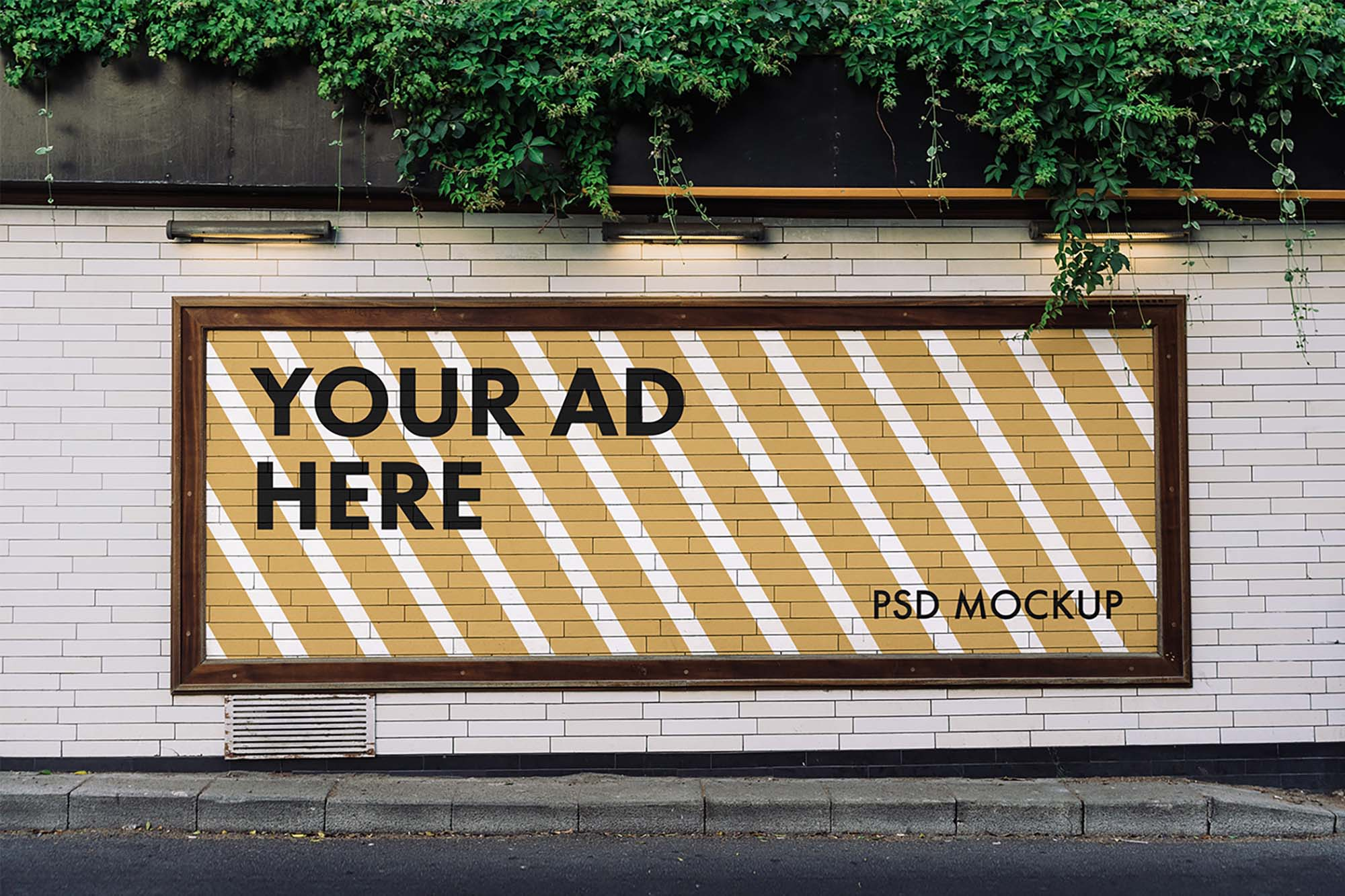 Wide Advertising Billboard Mockup