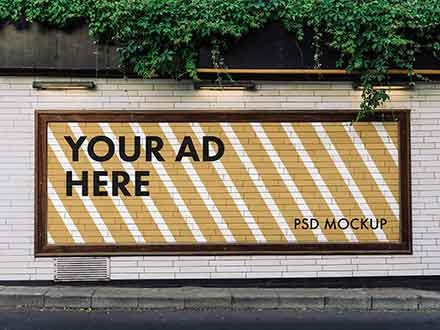 Wide Advertising Billboard Mockup