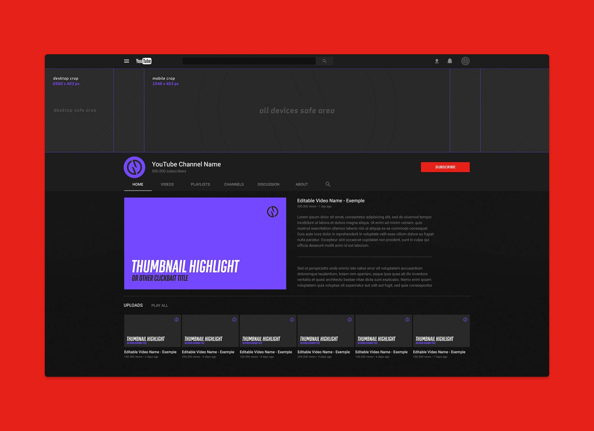 youtube cover psd free youtube channel mockup (psd)