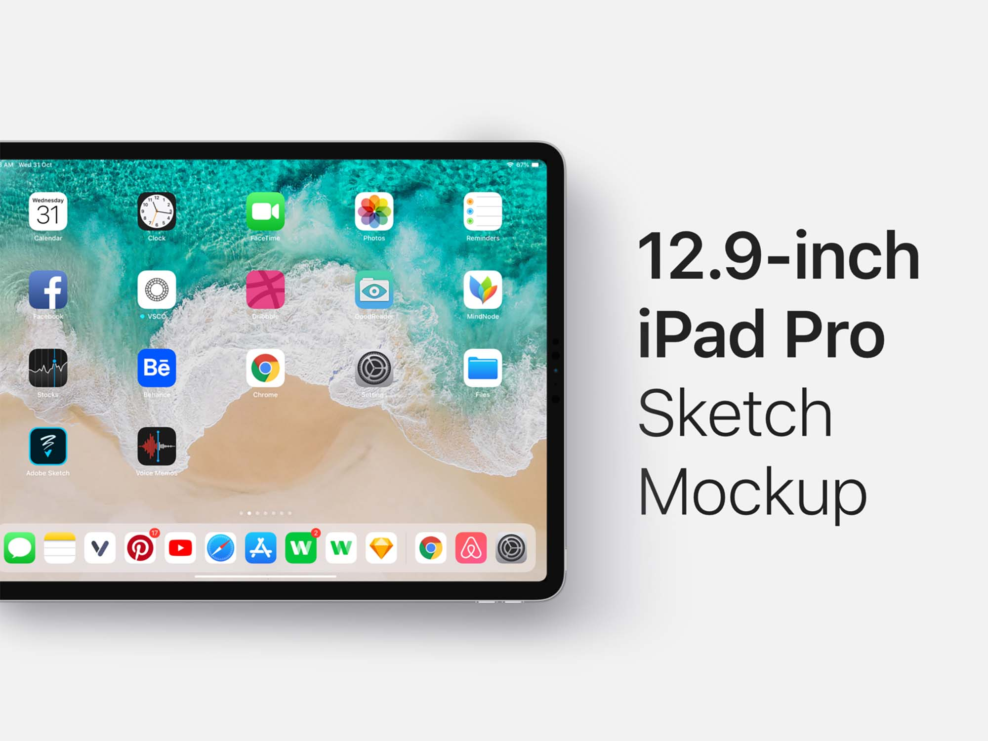 12.9 Inch iPad Pro Mockup