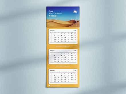 3 Panel Wall Calendar Mockup