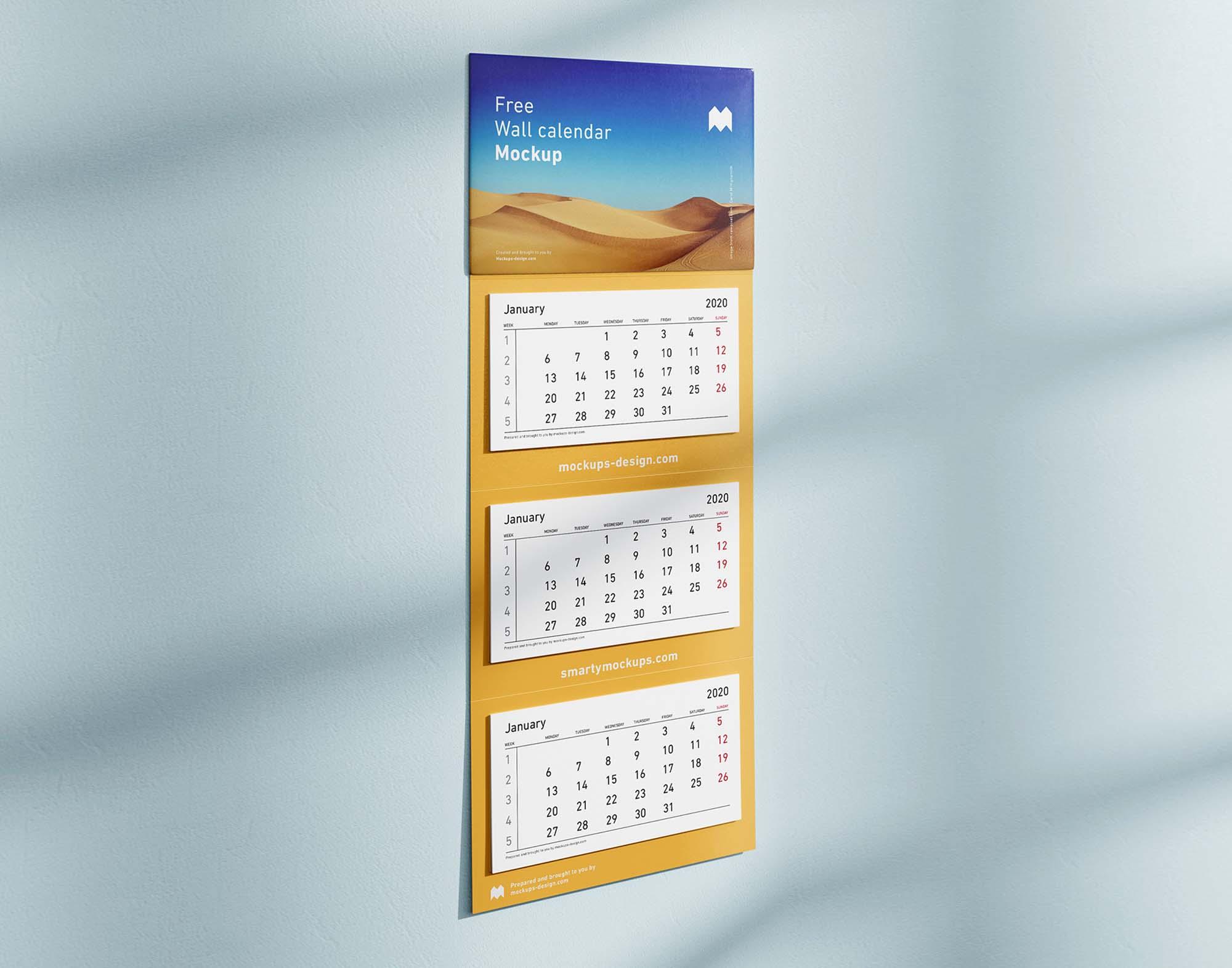 3 Panel Wall Calendar Mockup 2