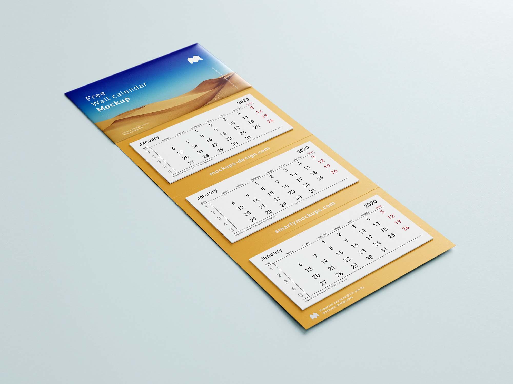 3 Panel Wall Calendar Mockup 3