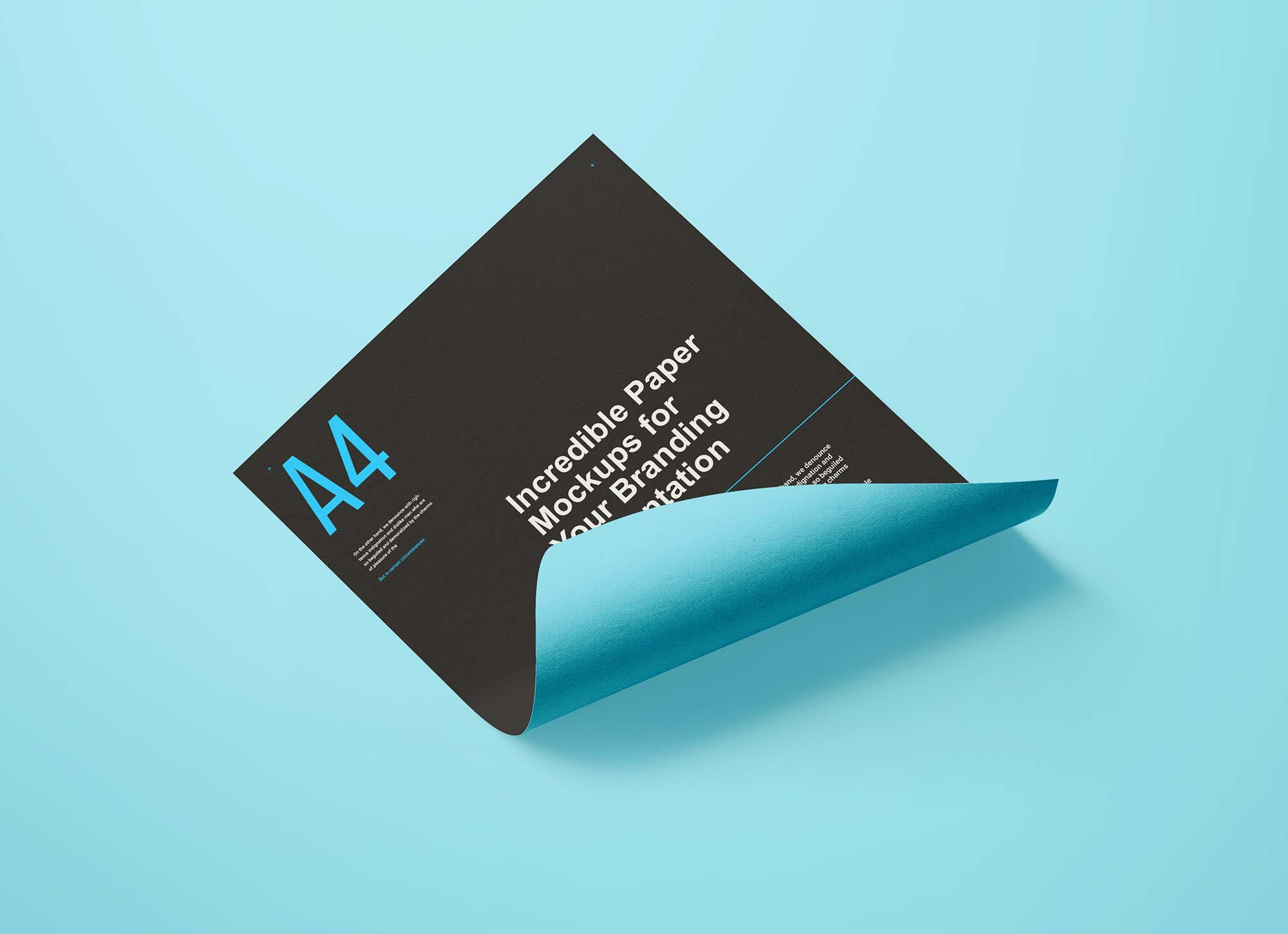 A4 Curled Flyer Mockup