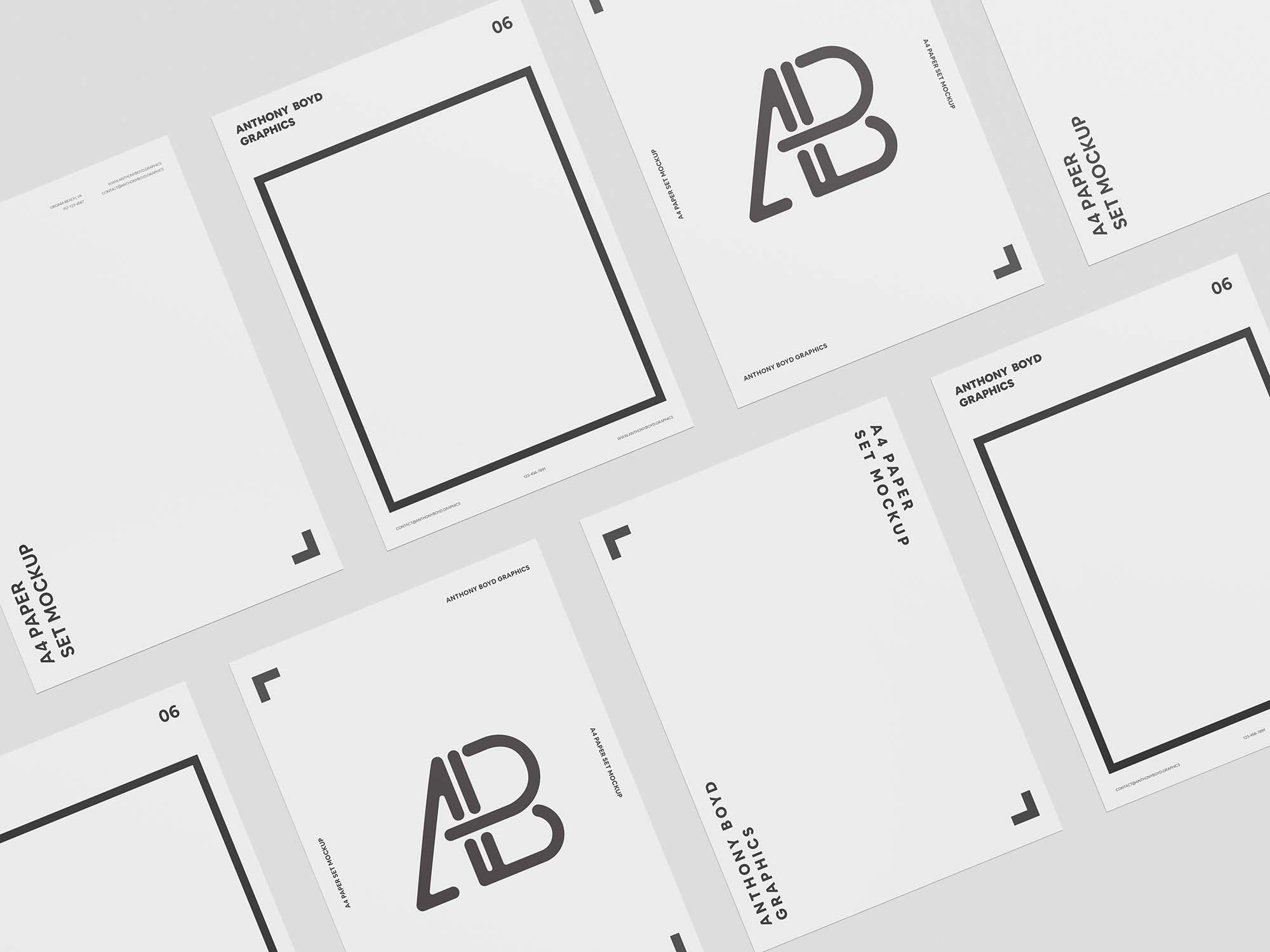 A4 Paper Set Mockup 2