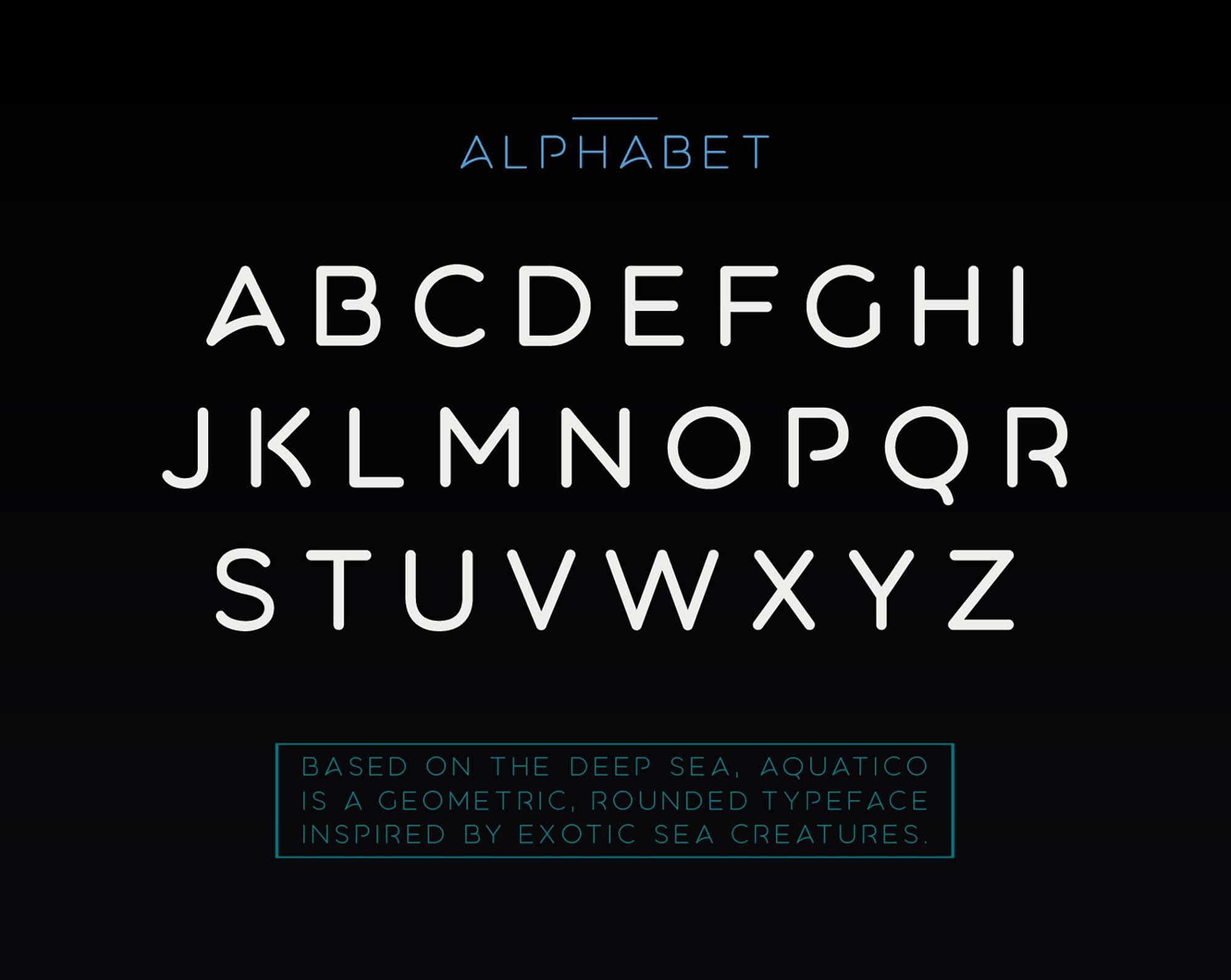 Aquatico Typeface Alphabets