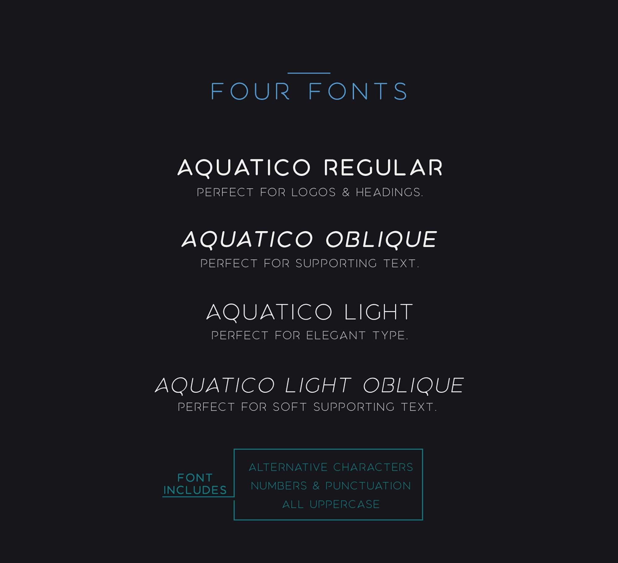 Aquatico Typeface Styles