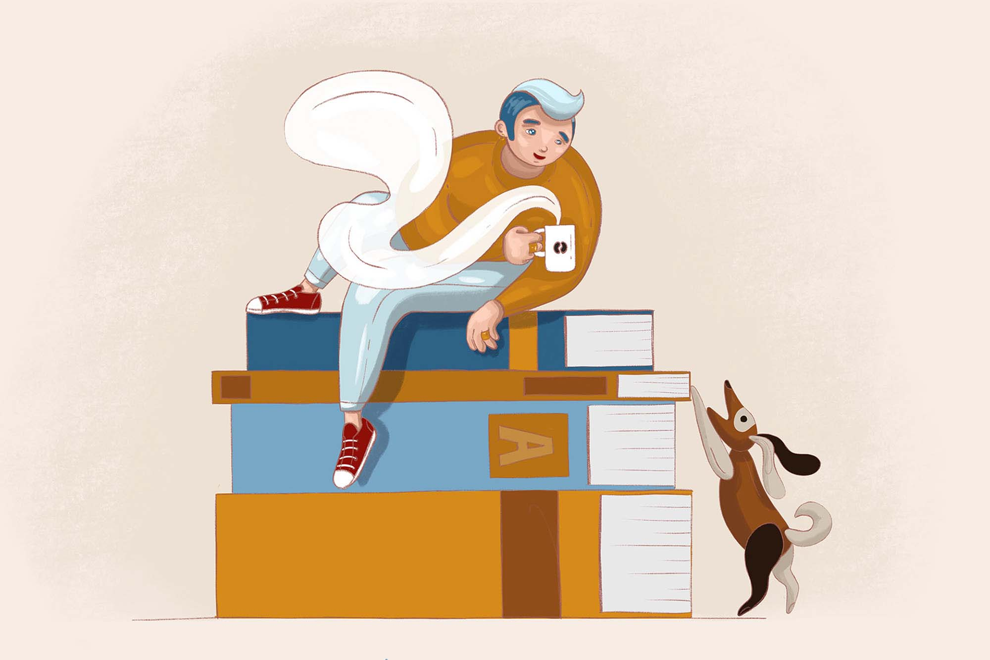 Boy and Books Illustration