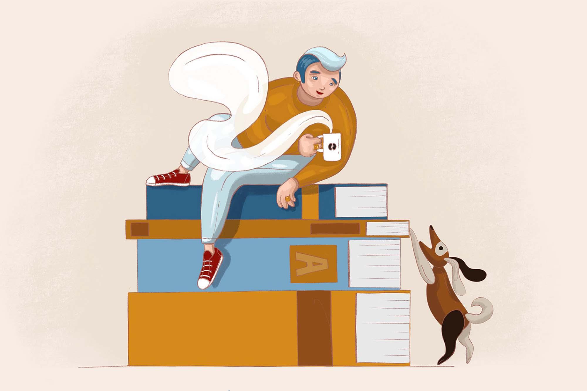 Boy and Books Illustration
