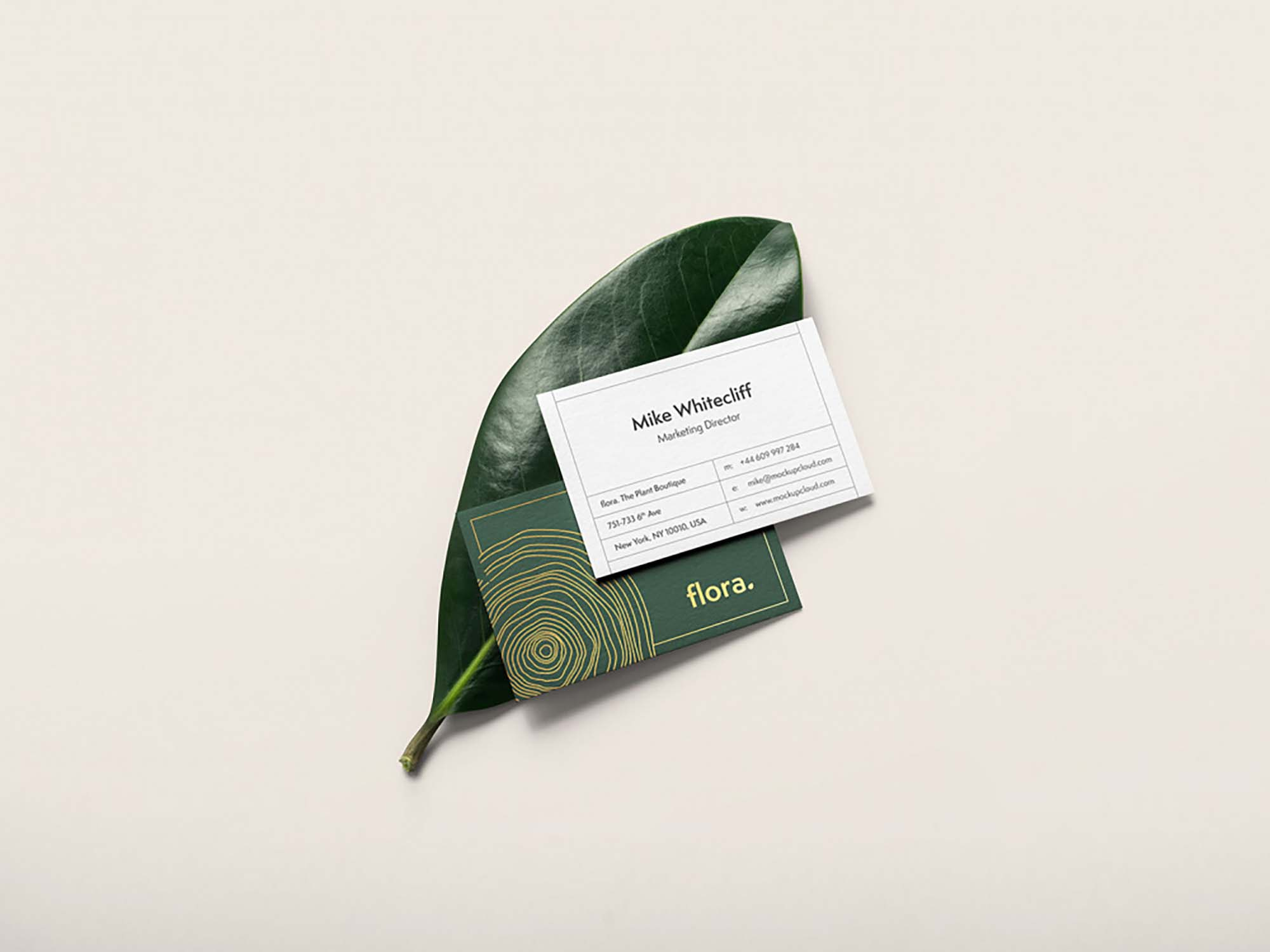 Business Card on Leaf Mockup