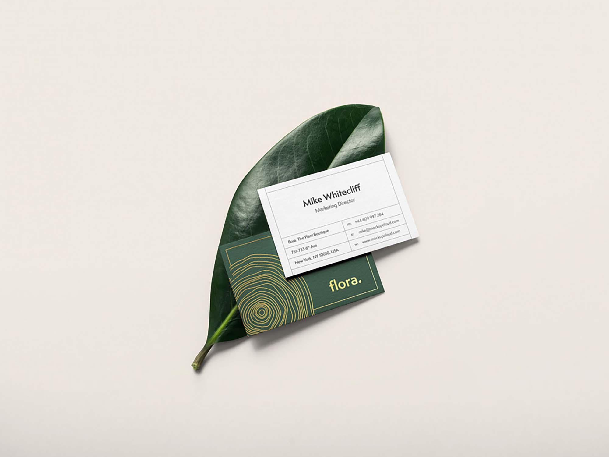 Business Card on Leaf Mockup