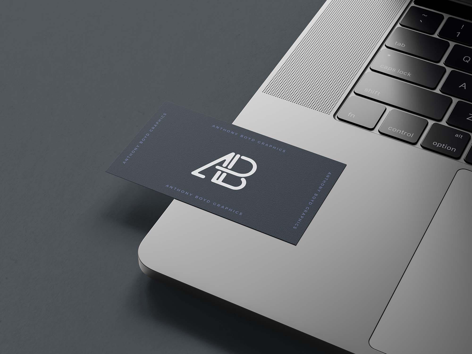 Business Card on MacBook Pro Mockup 2