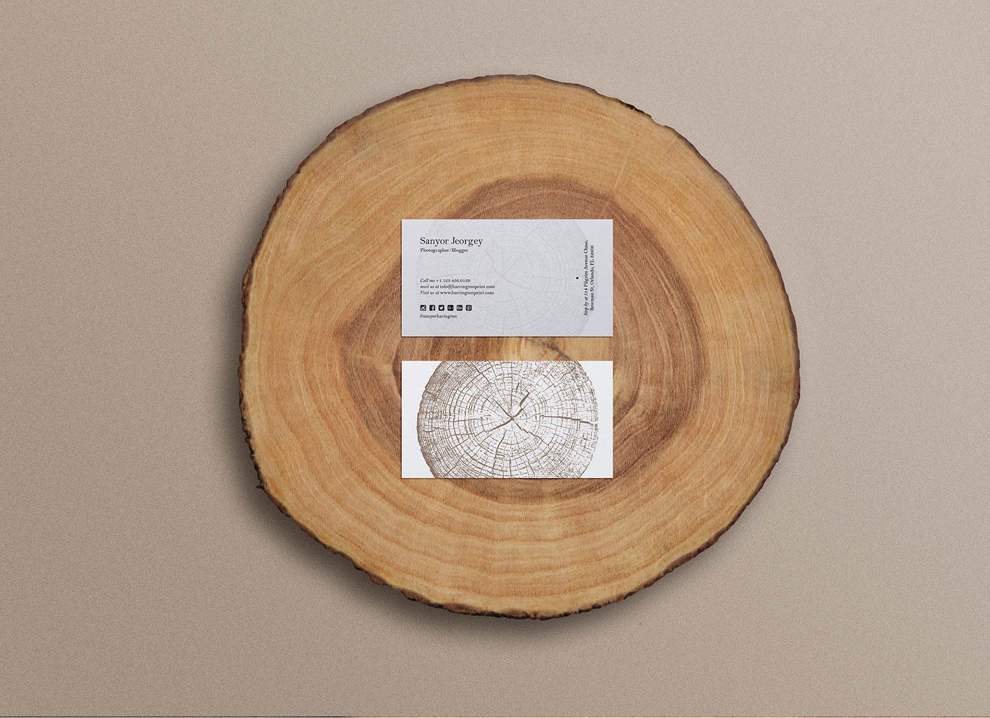 Business Card on Wood Slice Mockup