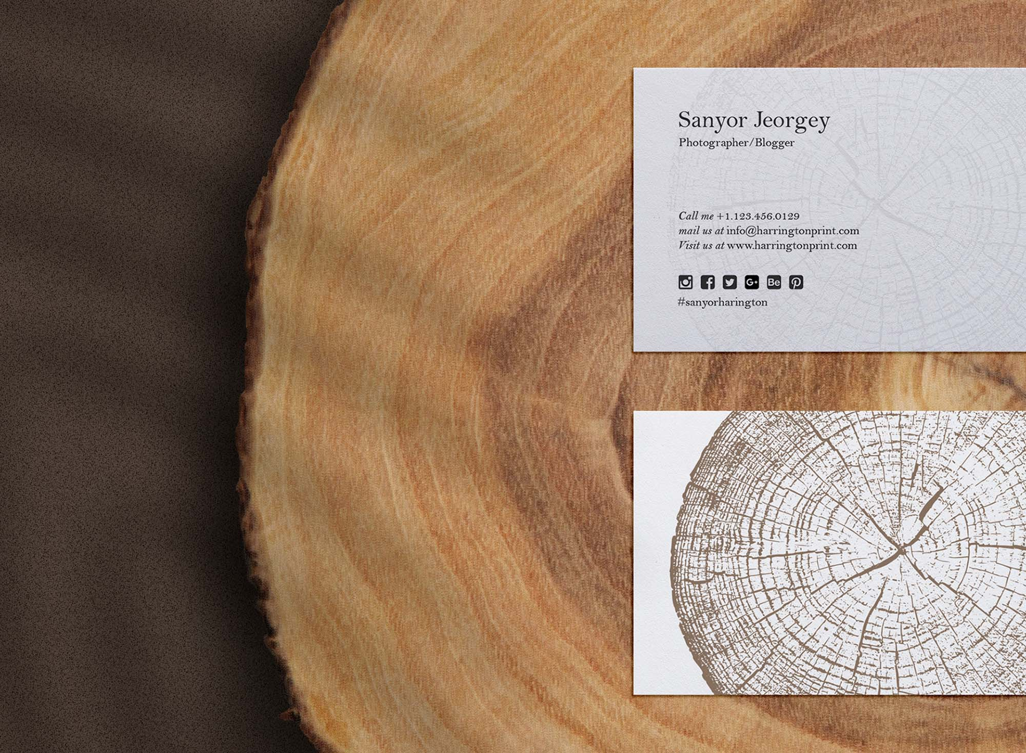 Business Card on Wood Slice Mockup 2