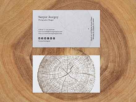 Business Card on Wood Slice Mockup