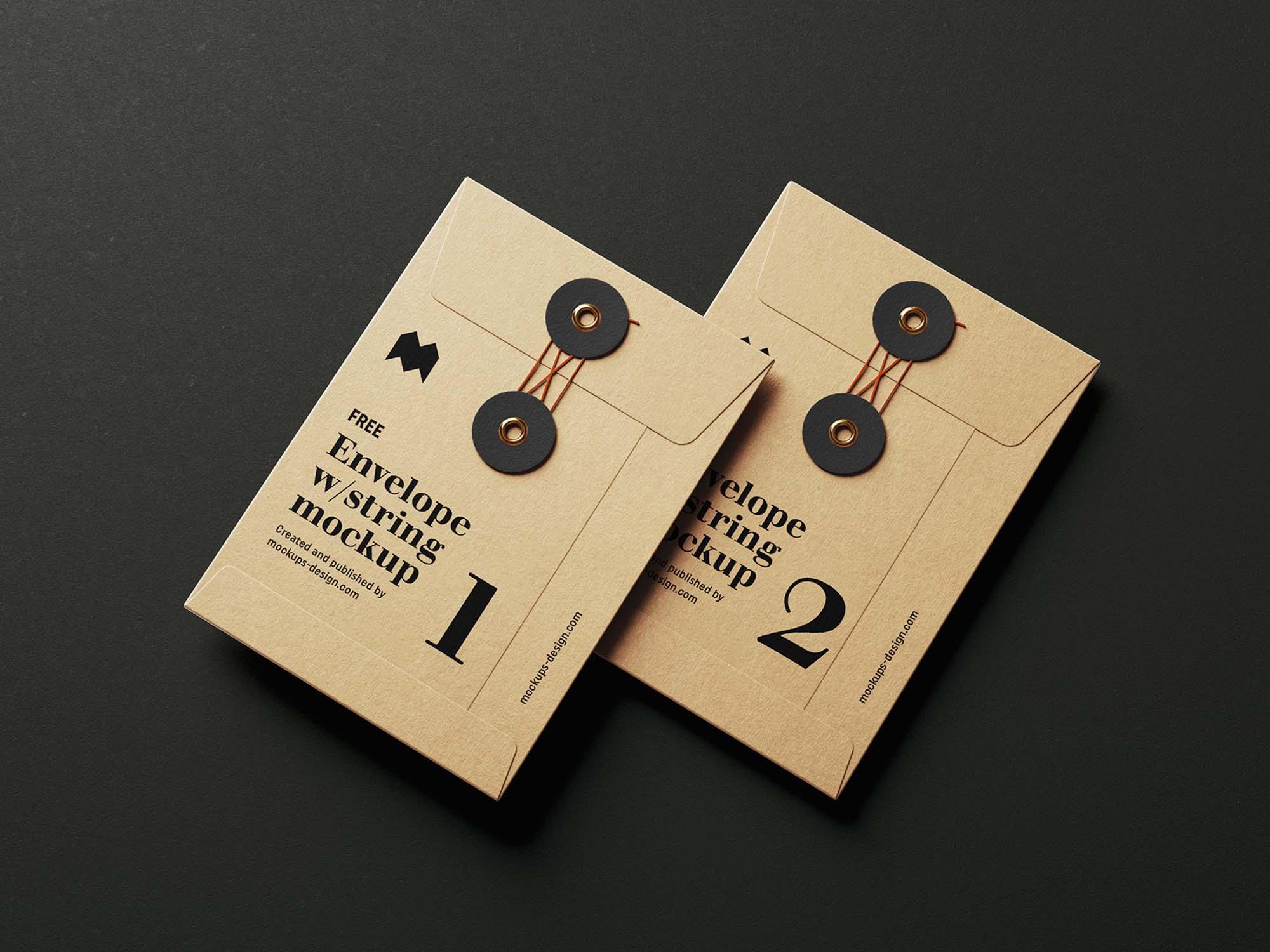 C6 Envelope with String Mockup