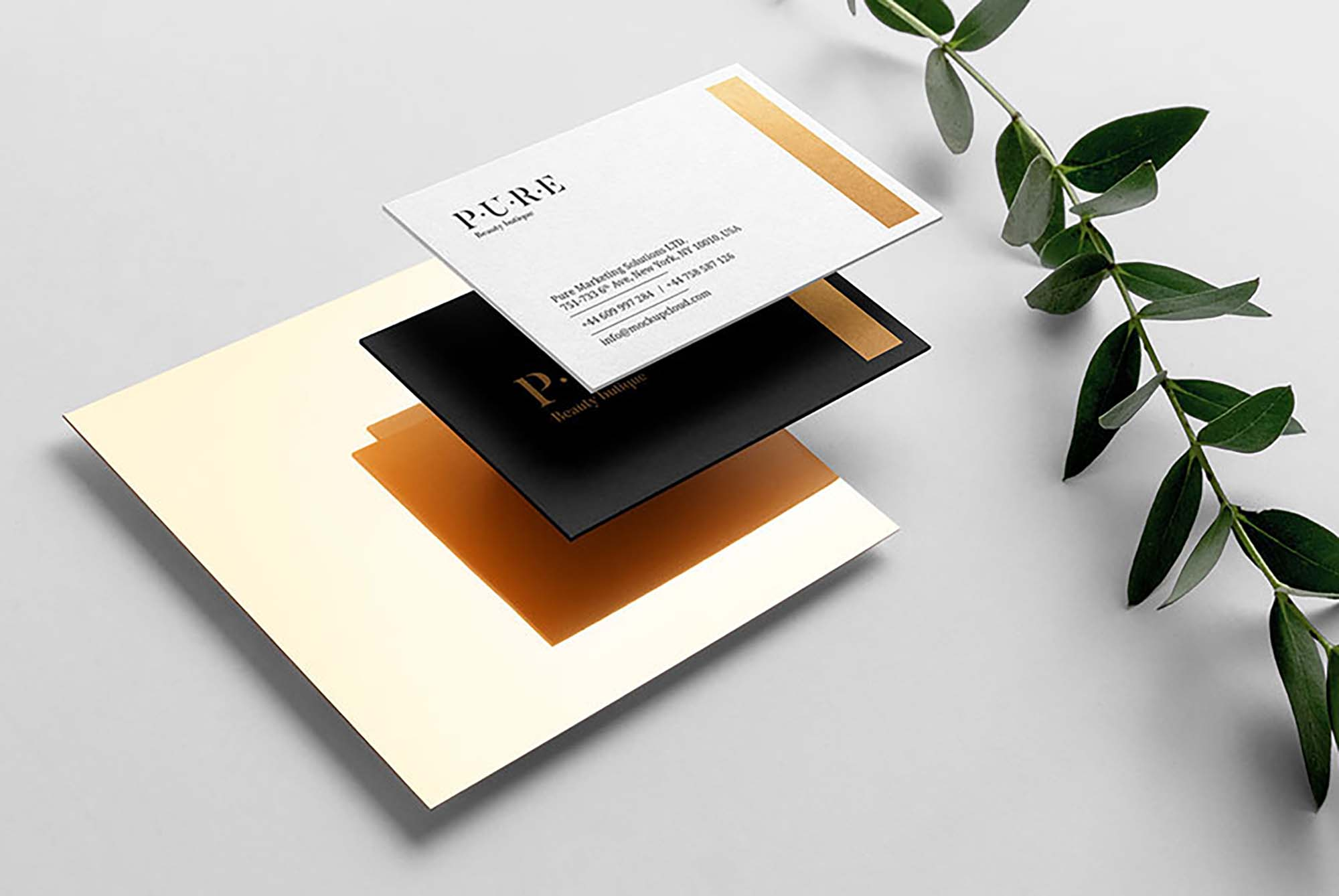 Floating Layered Business Card Mockup