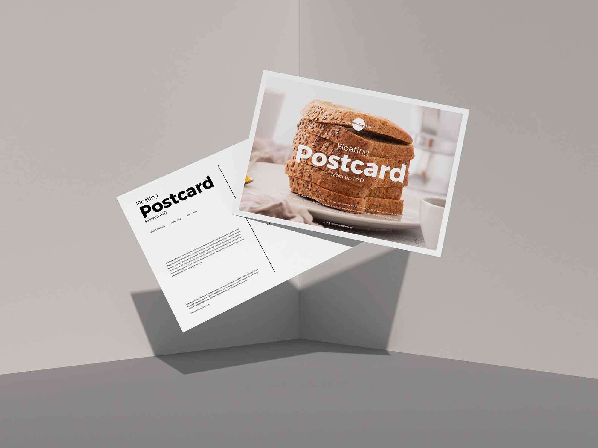 Floating Postcard Mockup