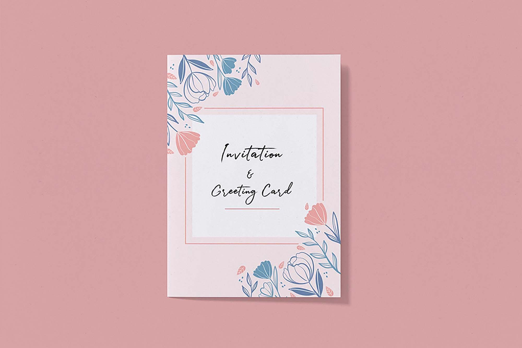 Free Invitation & Greeting Card Mockup (PSD)