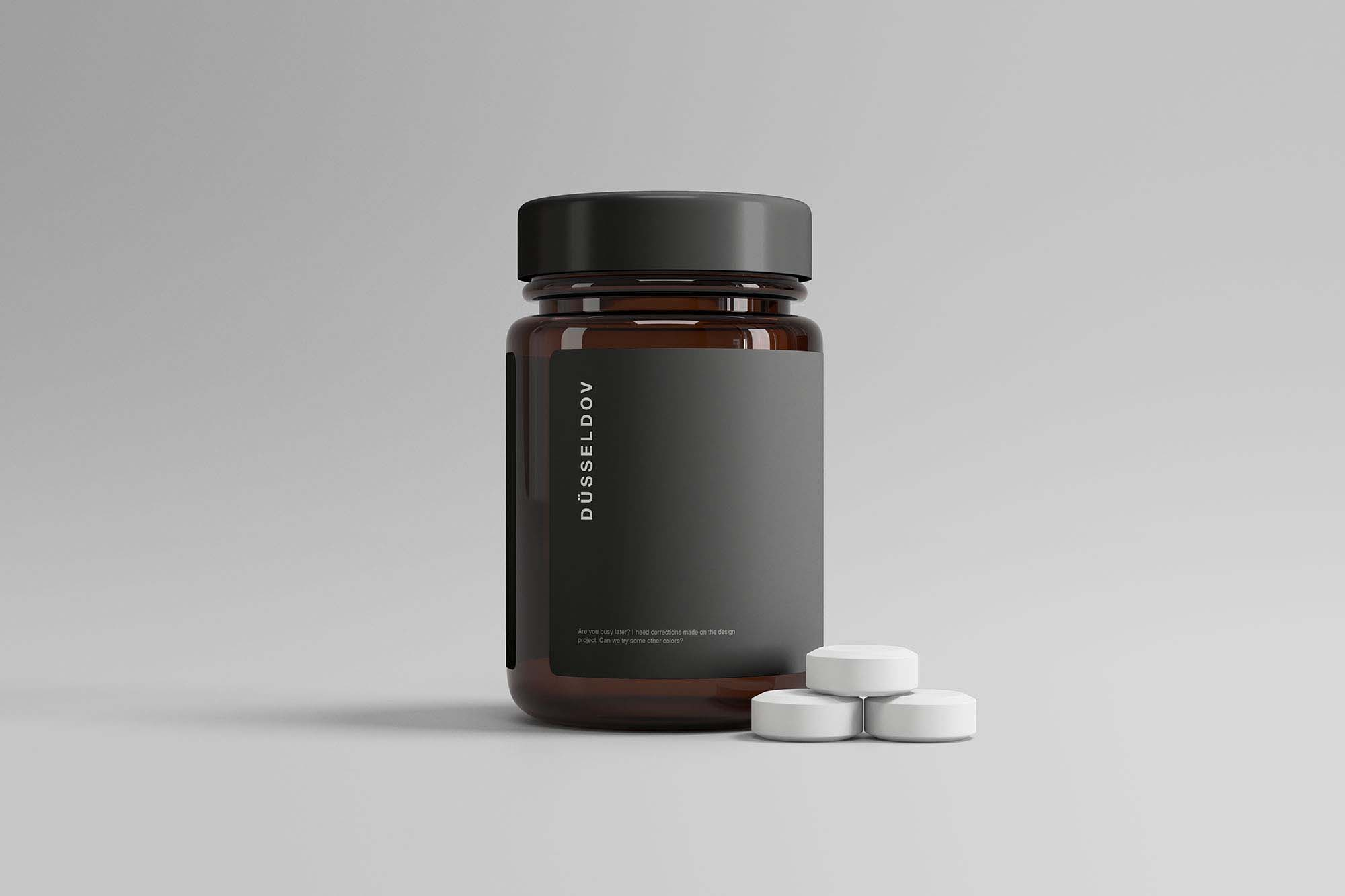 Medicine Bottle with Pills Mockup 2